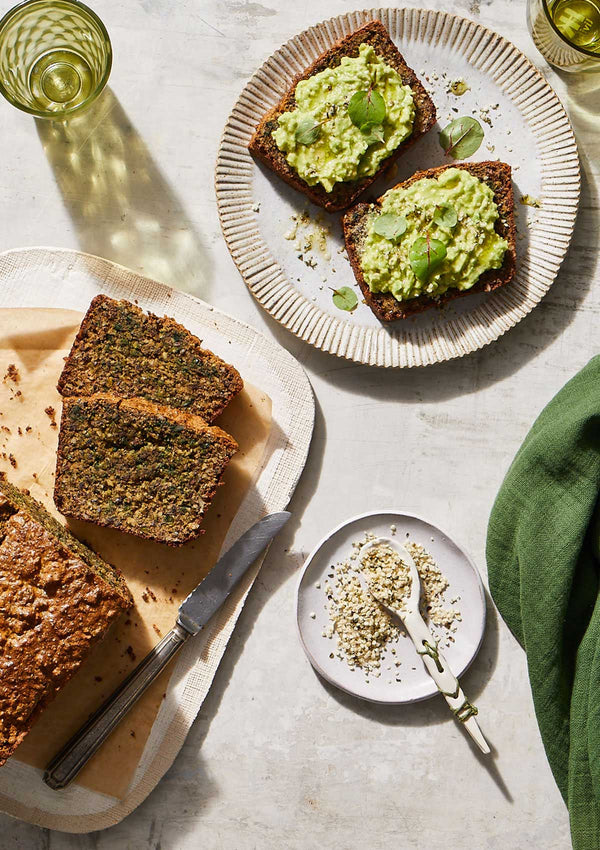 hemp paleo bread with avocado and hemp seeds