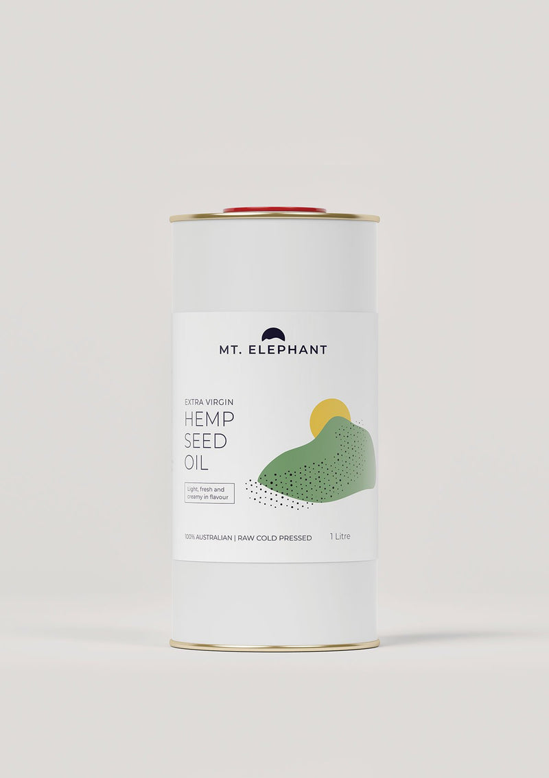 extra virgin hemp seed oil in a can