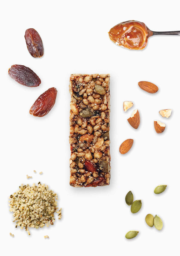 a delicious blend of nuts, hemp seeds, pepitas, chia, date, caramel and a sprinkle of salt