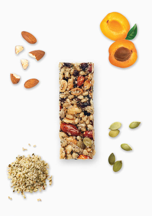 a delicious blend of nuts, hemp seeds, pepitas, chia and sun ripened apricots