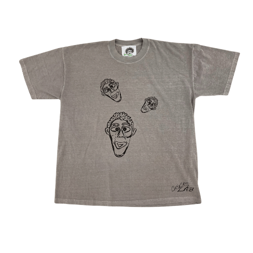 Grey Tee with Clay Faces Design