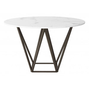 Tintern Dining Table White & Antique Brass