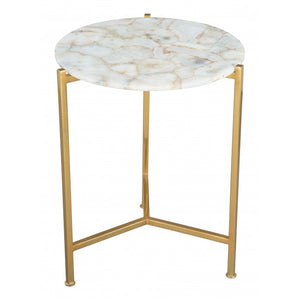 Haru Side Table White & Gold