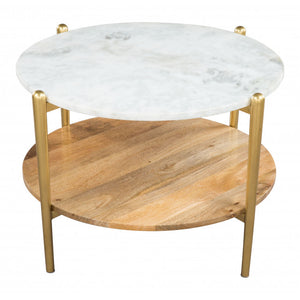 Mina Coffee Marble Table White & Gold