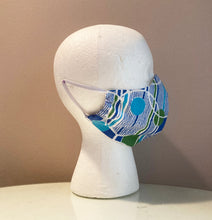 Load image into Gallery viewer, 1960s Blue Green Bubble Print Cotton Face Mask