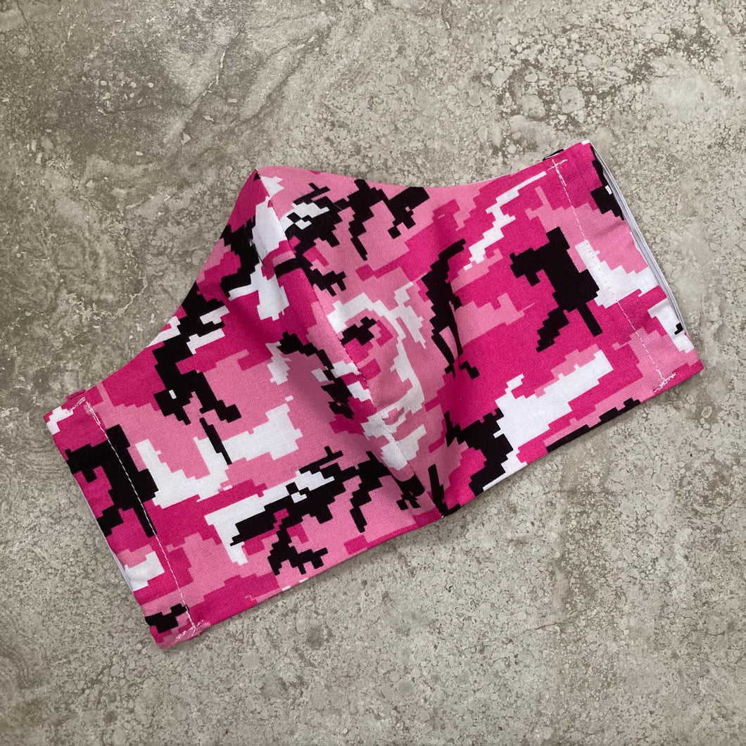 Pink Digital Camouflage Print Face Mask