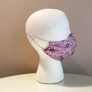 1960s Vintage Purple and Coral Floral Face Mask