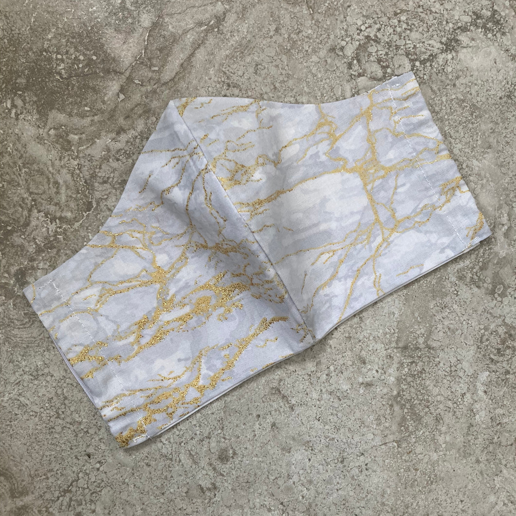 Grey and Gold Glitter Marble Print Face Mask
