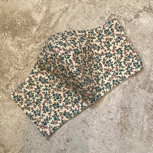 1940's Tiny Pink & Blue Floral Print Face Mask