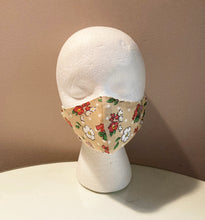 Load image into Gallery viewer, 1970s Vintage Tan Floral Polka Dot Print Face Mask