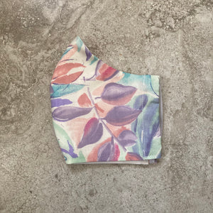 1980s Vintage Watercolor Leaves Face Mask