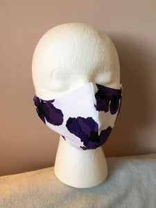 Purple and White Abstract Floral Print Face Mask