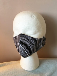 Black and White Marble Print Face Mask