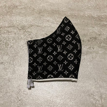 Load image into Gallery viewer, Louis Vuitton Inspired Black and Silver Face Mask