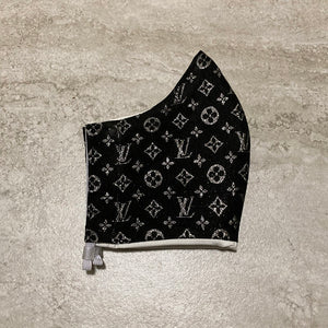 Louis Vuitton Inspired Black and Silver Face Mask
