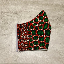 Load image into Gallery viewer, Red & Green African Ankara Face Mask