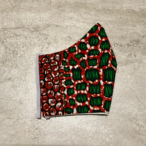 Red & Green African Ankara Face Mask