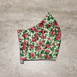 1950s Vintage Green & Red Rose Face Mask