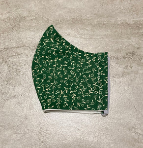 1930s Vintage Green Mini Floral Print Face Mask