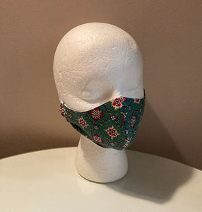 1940s Vintage Green Quilt Print Face Mask