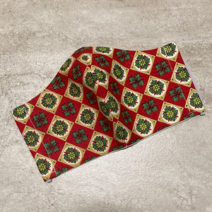 1940s Vintage Red Christmas Print Face Mask