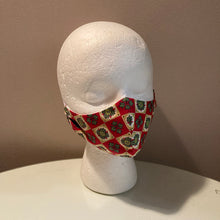 Load image into Gallery viewer, 1940s Vintage Red Christmas Print Face Mask