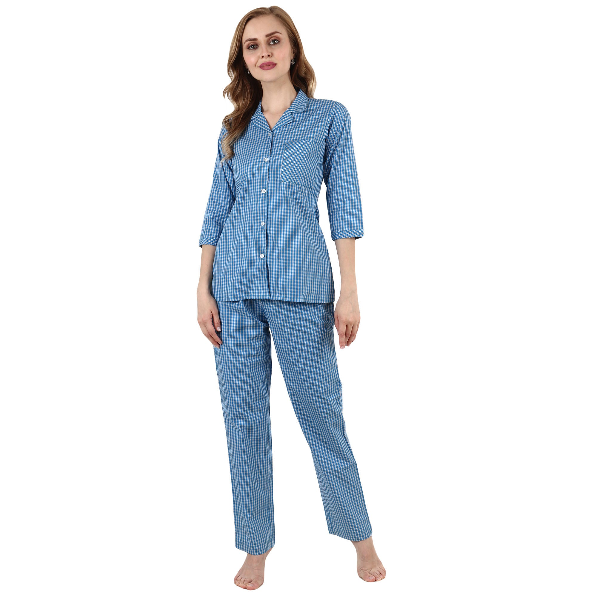 3/4 SLEEVES, all size, all sizes night suits, apella, best online store, blue, cotton night suit, lounge wear suits, nigt suits online, notched collar, plus size, plus size night suits, poly
