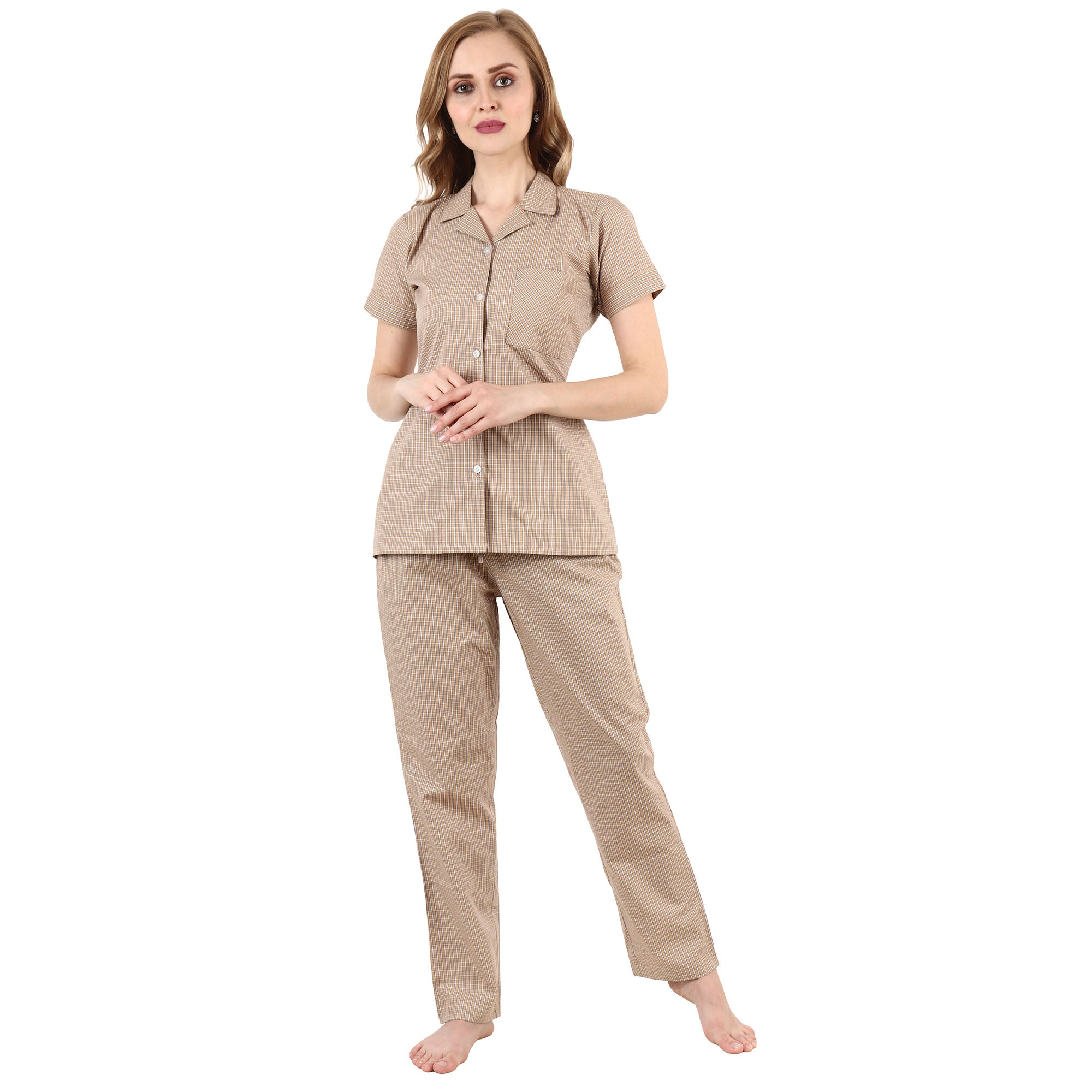all size, all sizes night suits, apella, best online store, Brown, cotton night suit, half sleeve, lounge wear suits, nigt suits online, notched collar, plus size, plus size night suits, poly