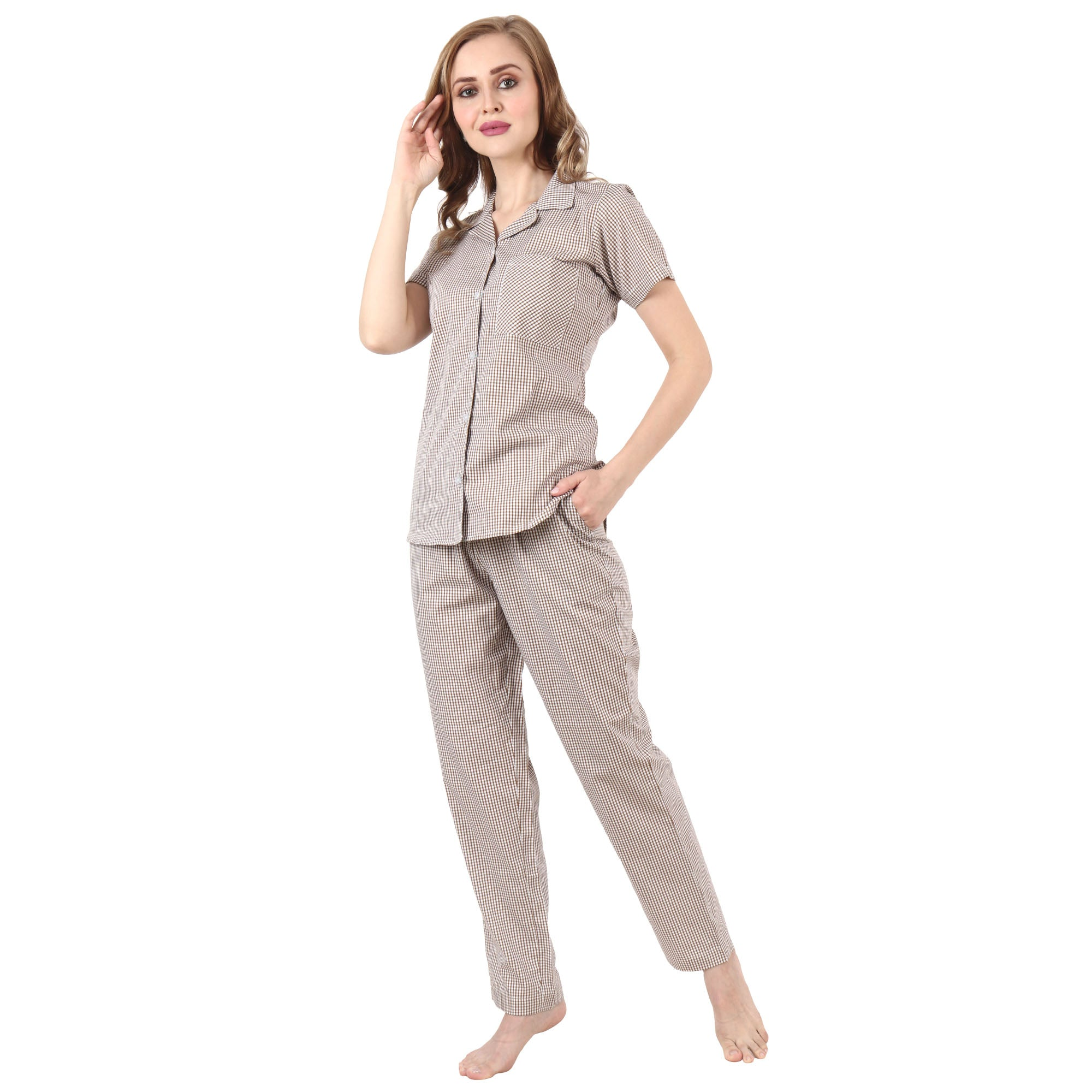 Caramel Checked Night Suit - Apella