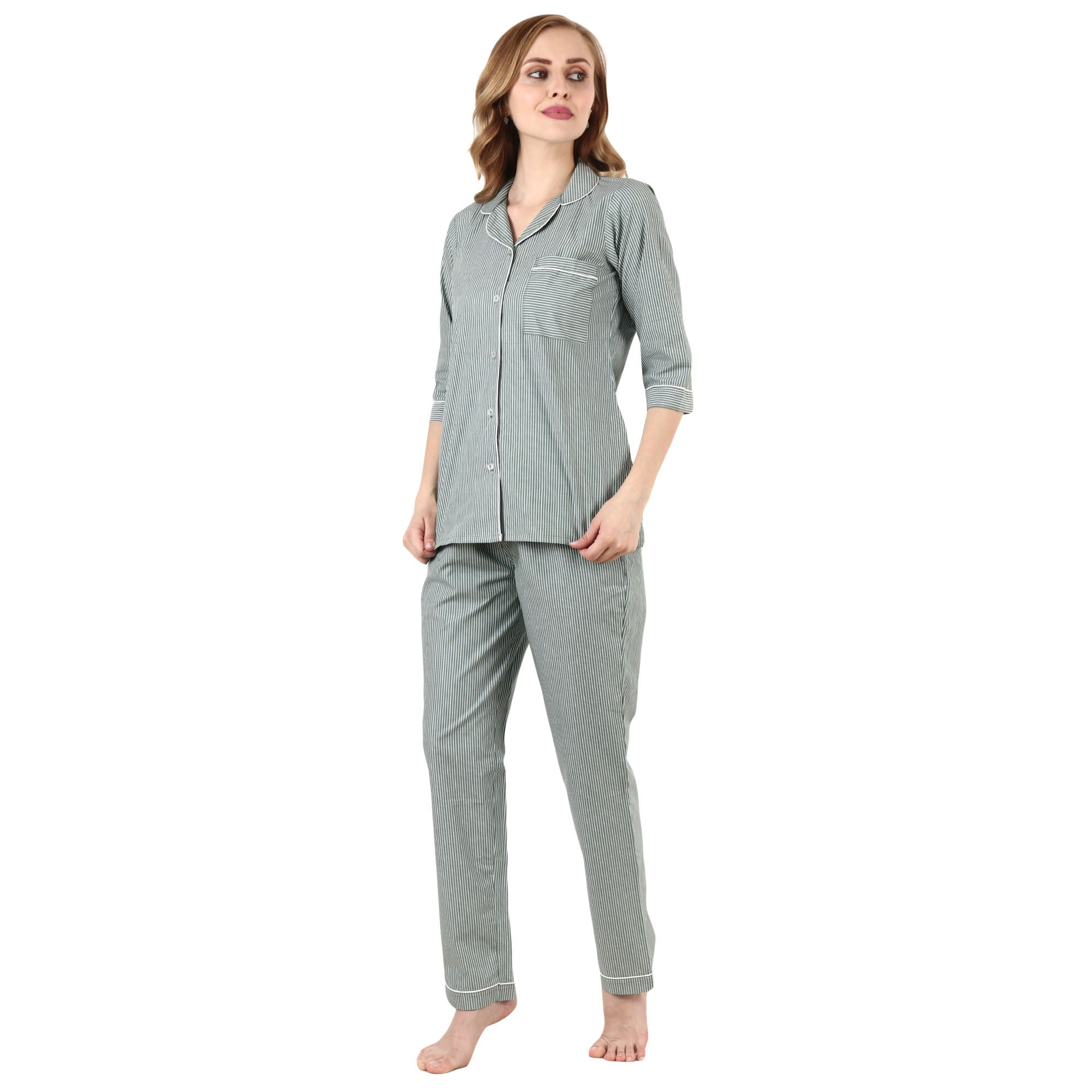 all size, all sizes night suits, apella, best online store, contrast, cotton night suit, green, lounge wear suits, nigt suits online, notched collar, plus size, plus size night suits, poly co