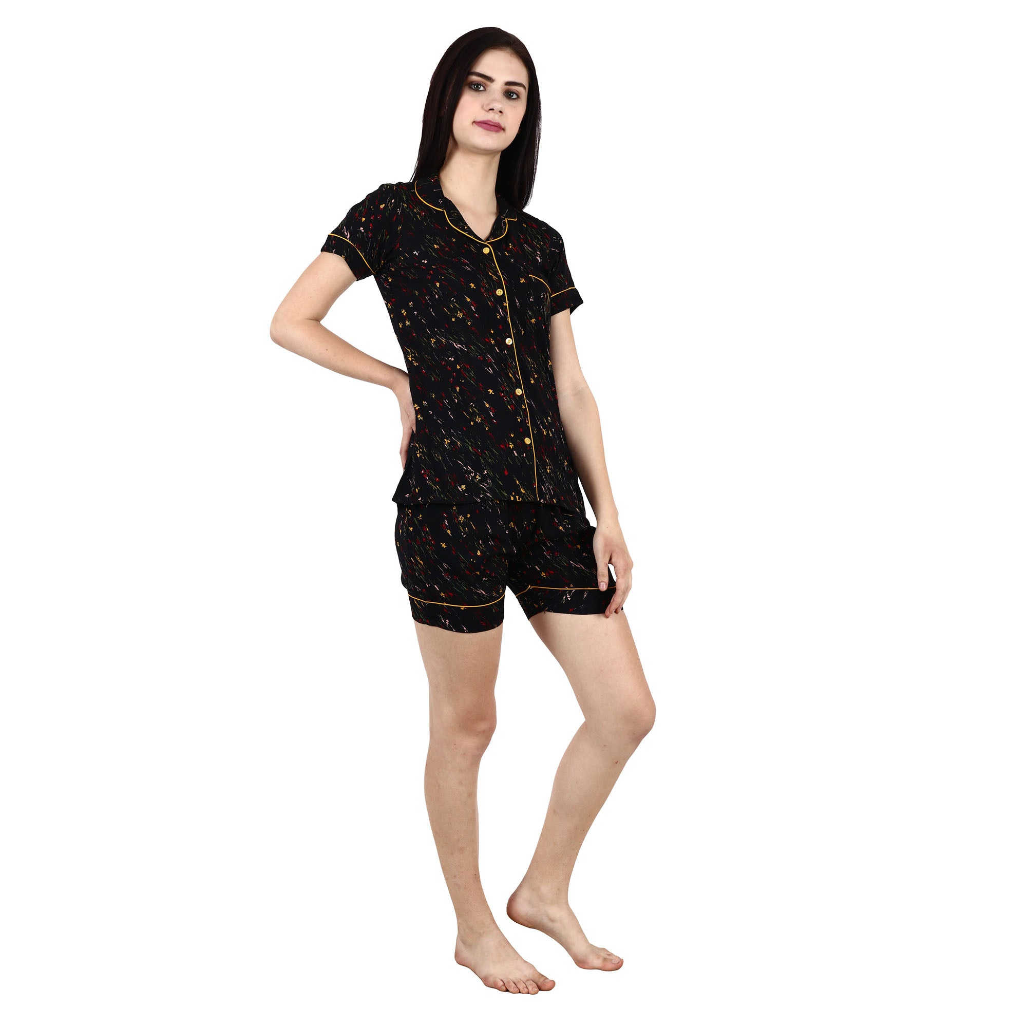 Black Rayon Notched Collar Plus Size Night Shorts Suit - Apella