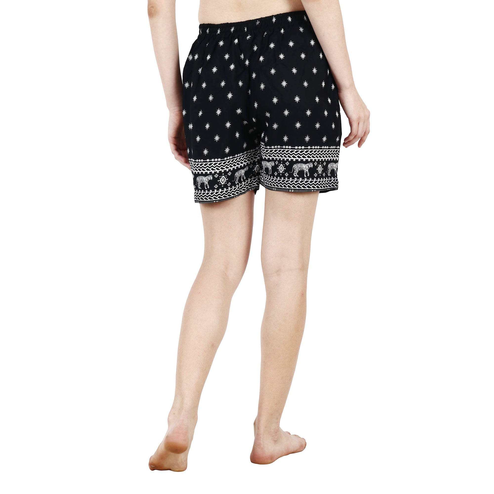 Black Printed Rayon Shorts - Apella