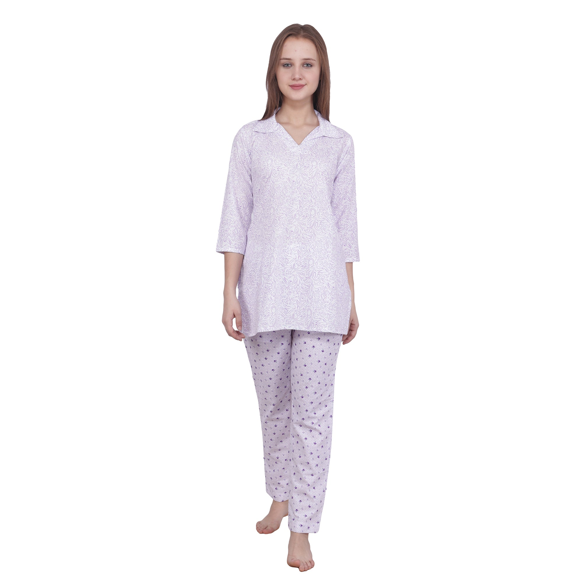 all size, all sizes night suits, apella, best online store, COLLAR, COTTON, cotton night suit, ELASTIC, lounge wear suits, MAUVE, nigt suits online, plus size, plus size night suits, PRINTED,