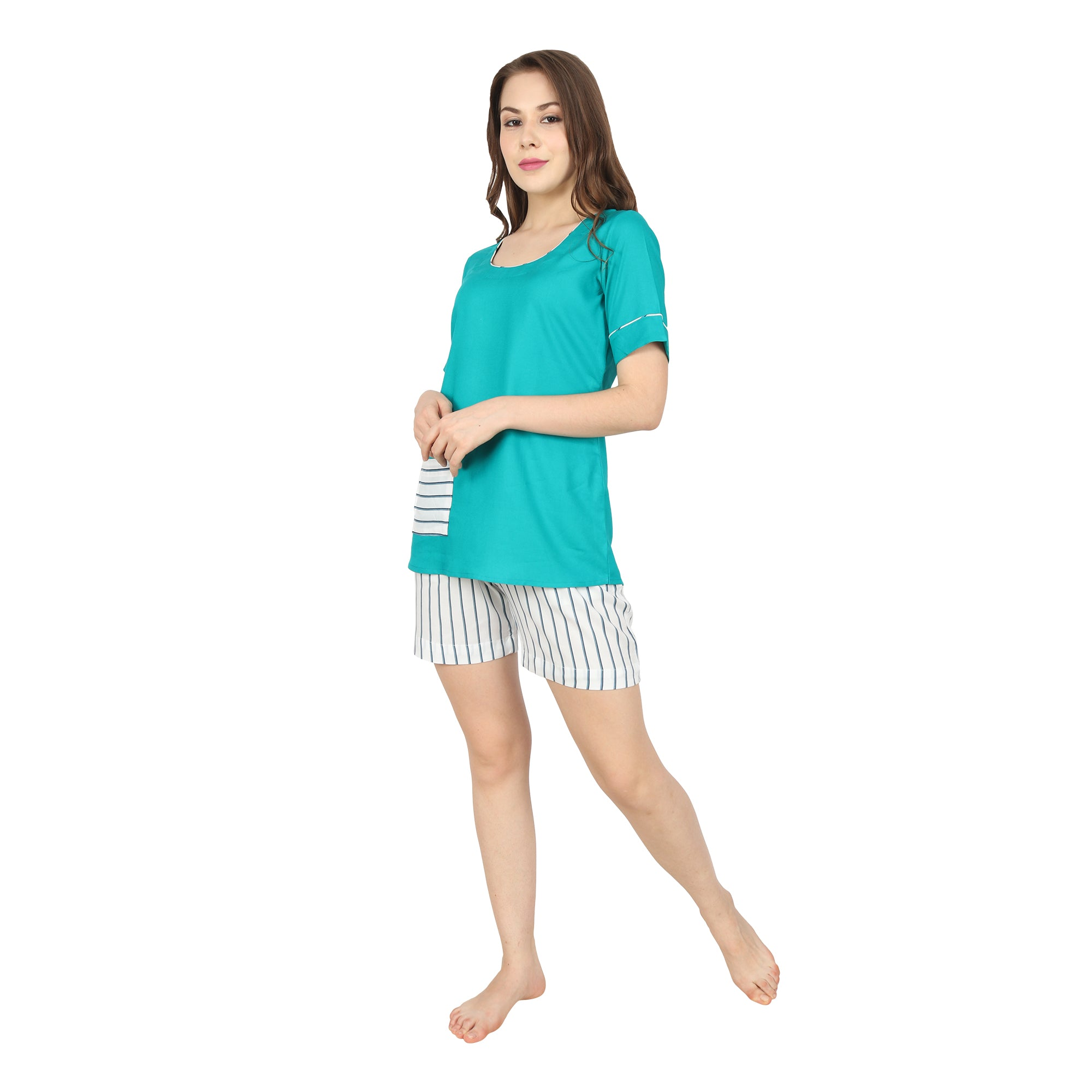 Blue Striped Shorts Set - Apella
