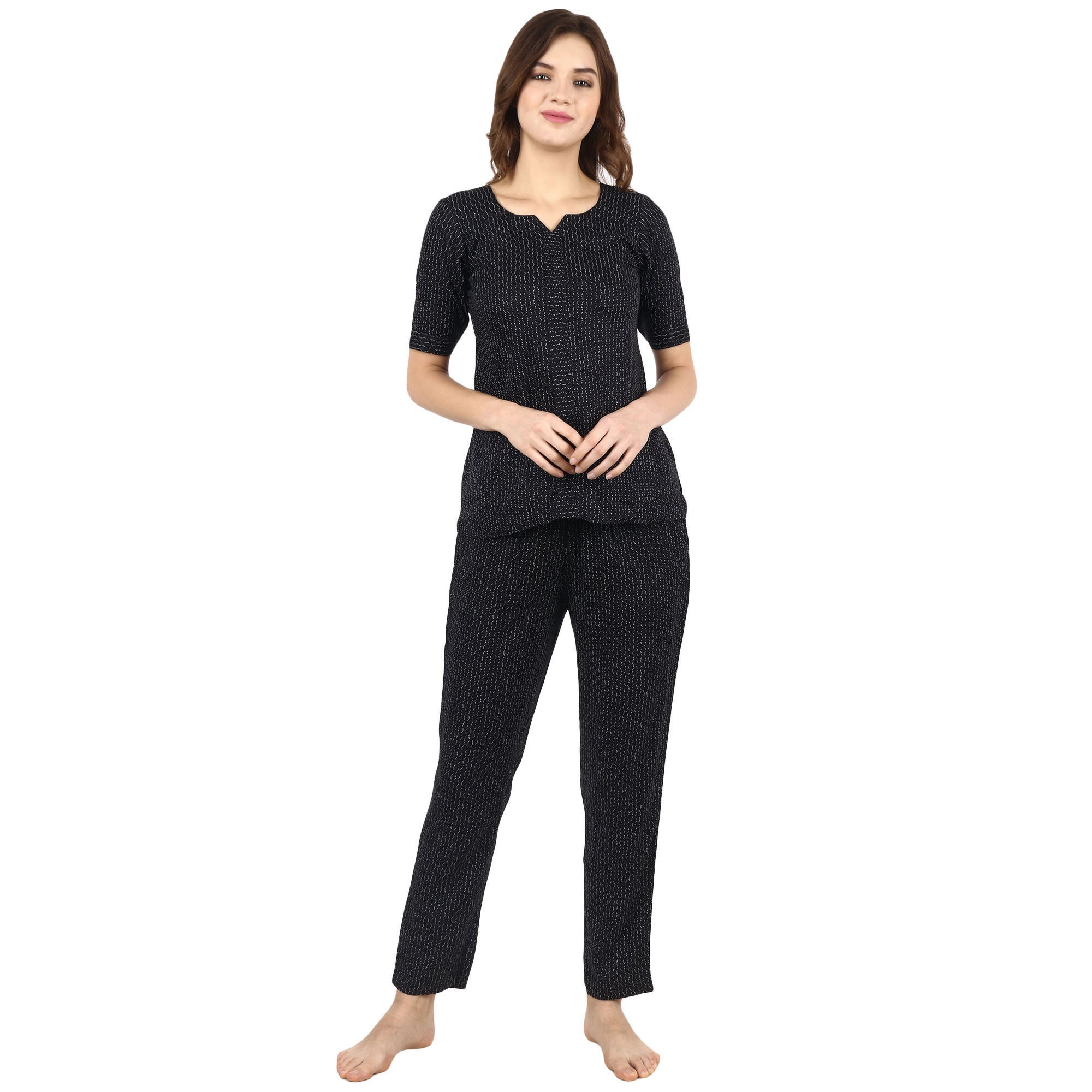 Charcoal Rayon Night Suit