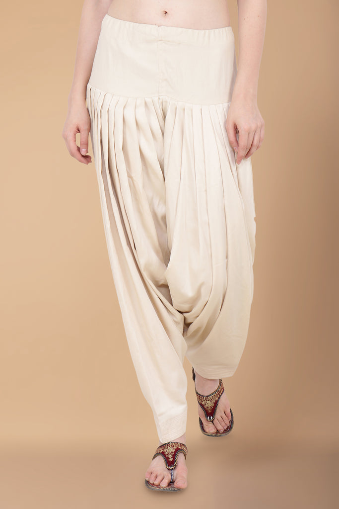 Cream Cotton Salwar - Apella