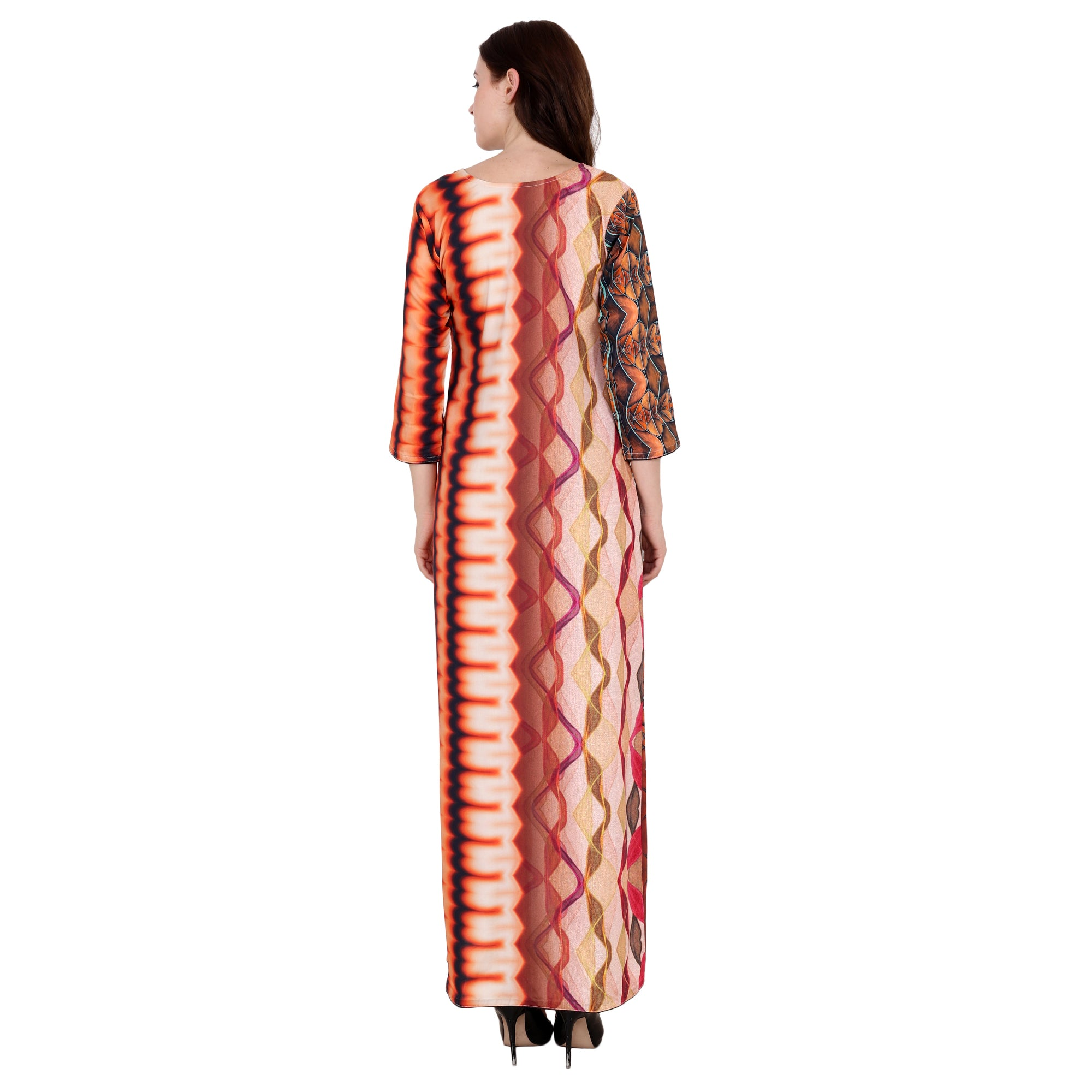 10xl, 2xl, 3xl, 4xl, 5xl, 6xl, 7xl, 8xl, 9xl, front wave cut, geometric print, modal, orange, plus size dress, shaded black