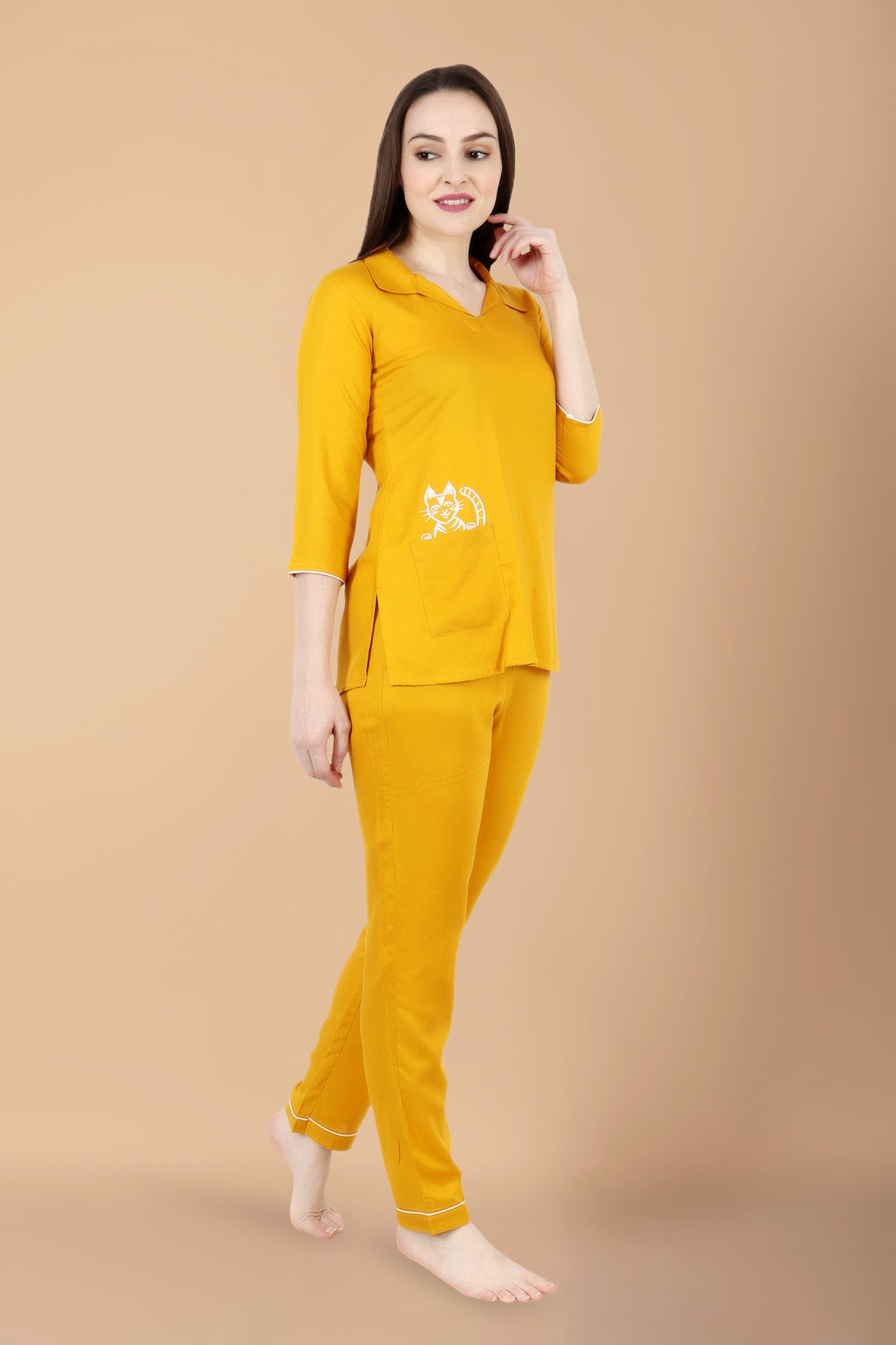 all size, all sizes night suits, apella, best online store, COLLAR, cotton night suit, lounge wear suits, MUSTARD, nigt suits online, plus size, plus size night suits, RAYON, rayon night suit