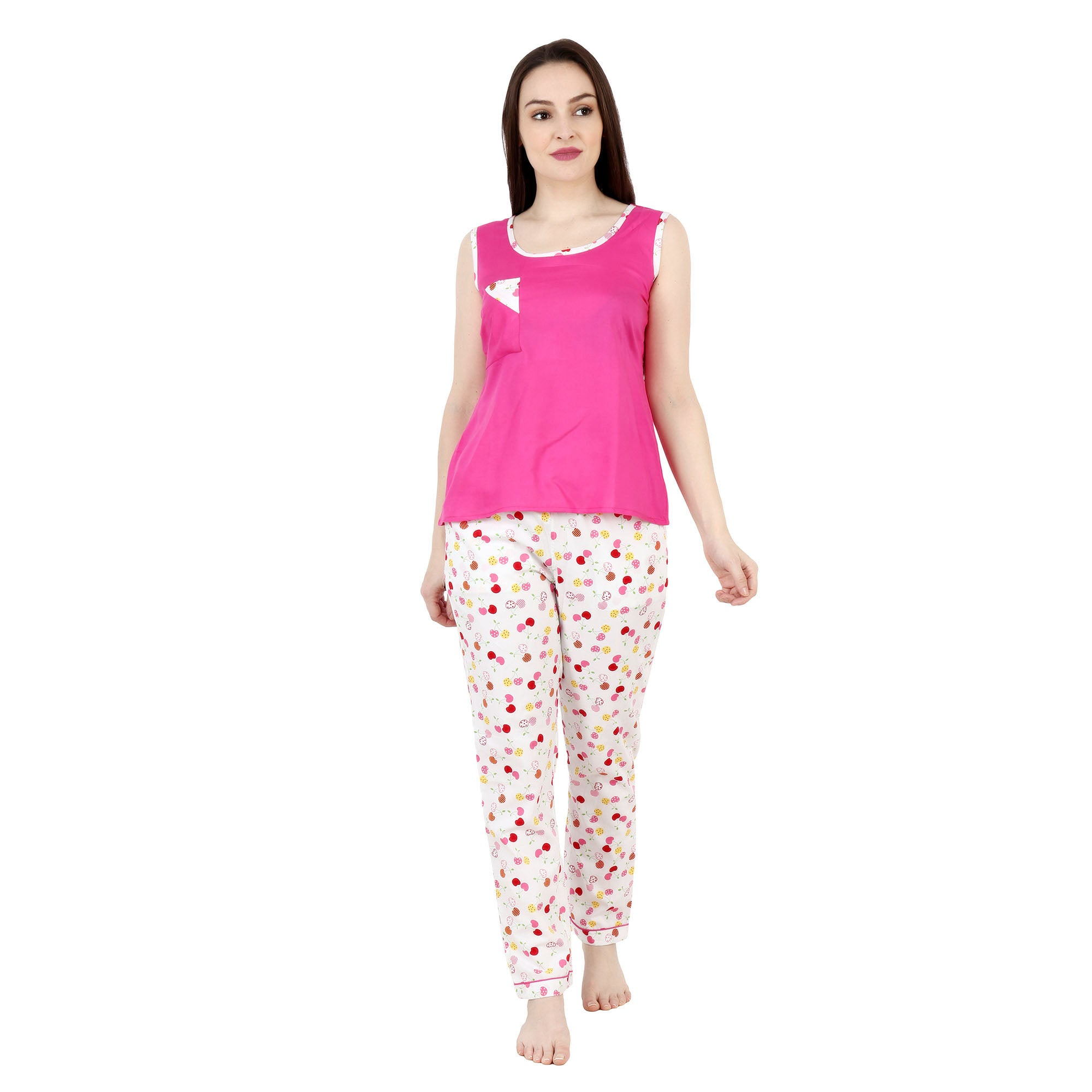 Pink Cherry Rayon Night Suit - Apella