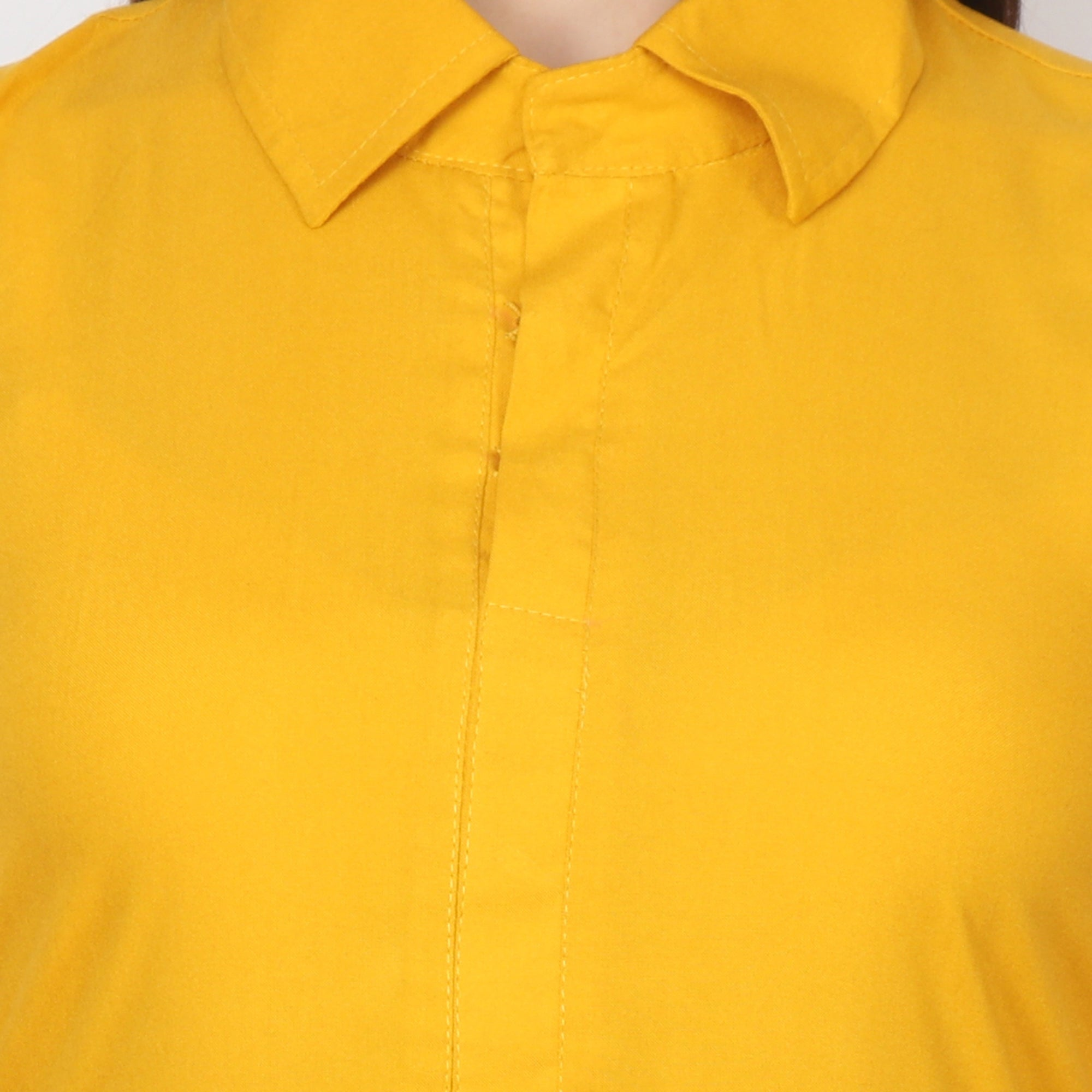 Yellow Detailed Kurta - Apella