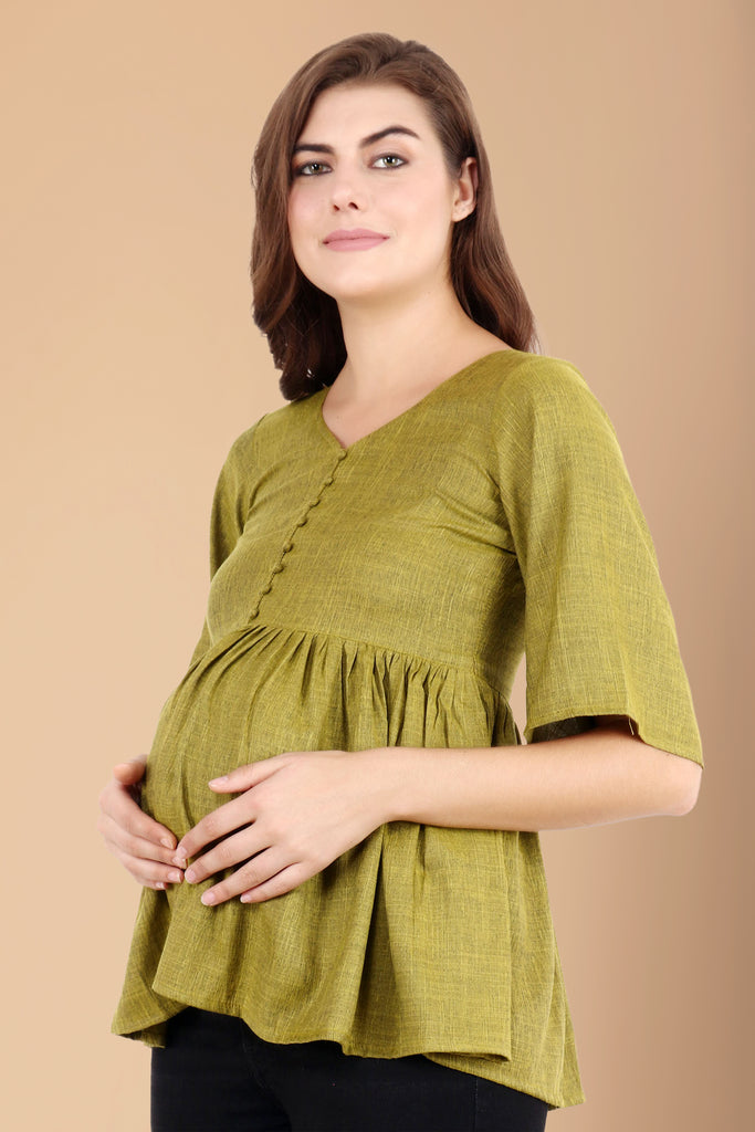 blue, breathable, casual, comfortable, frill, linen, loose, maternity, MATERNITY TOPS, MOCK BUTTON, nursing, OLIVE, plus size, PLUS SIZE NURSING & MATERNITY TOPS, pluz size, pregnancy, rayon,
