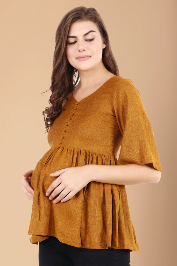 blended rayon, breathable, casual, comfortable, frill, linen, loose, maternity, maternity tops, mock button, mustard, nursing, nursing & maternity, plus size, plus size nursing & maternity to