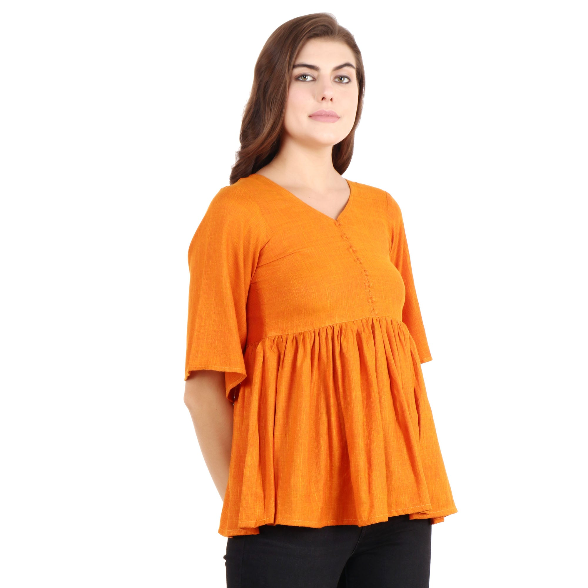 all size, best online store, blue, breathable, casual, comfortable, frill, linen, loose, maternity, nursing, Nursing & Maternity, ORANGE, plus size, pluz size, pregnancy, rayon, reasonable pr