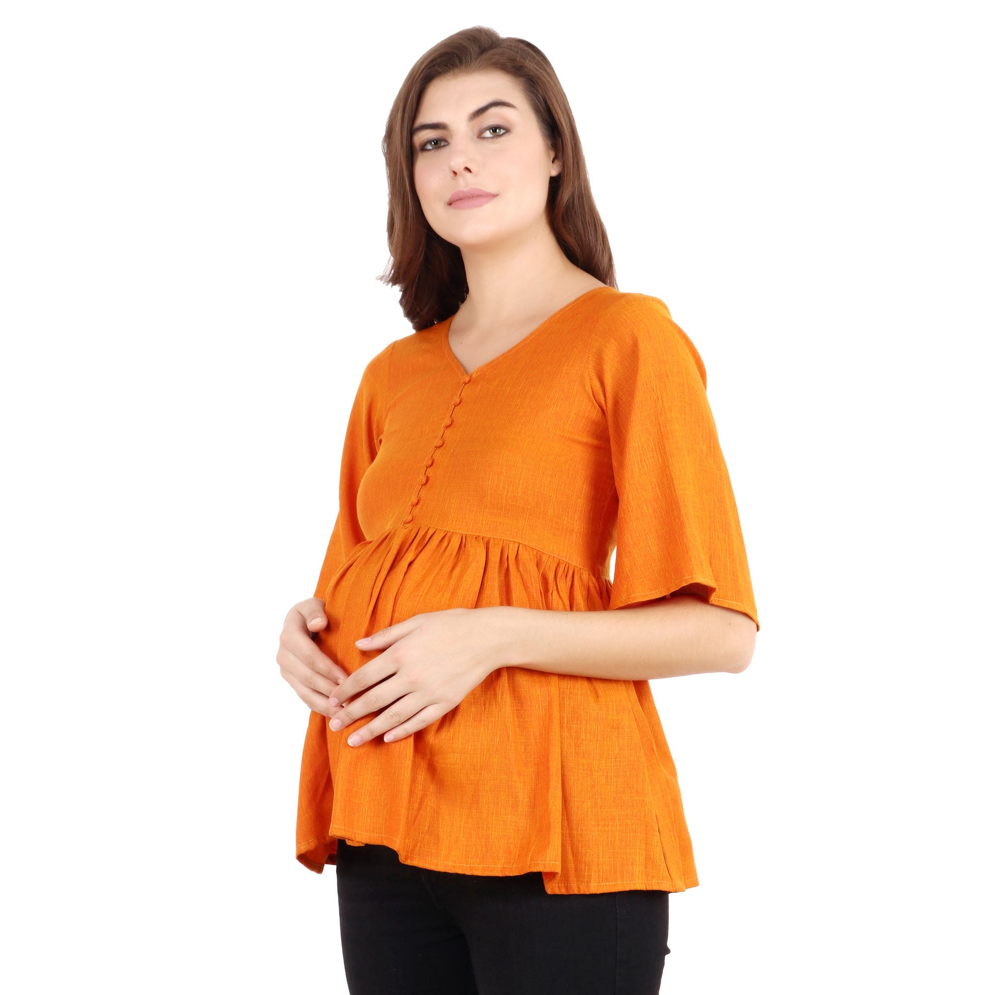 Ruche Ruffled Rayon Top - Apella
