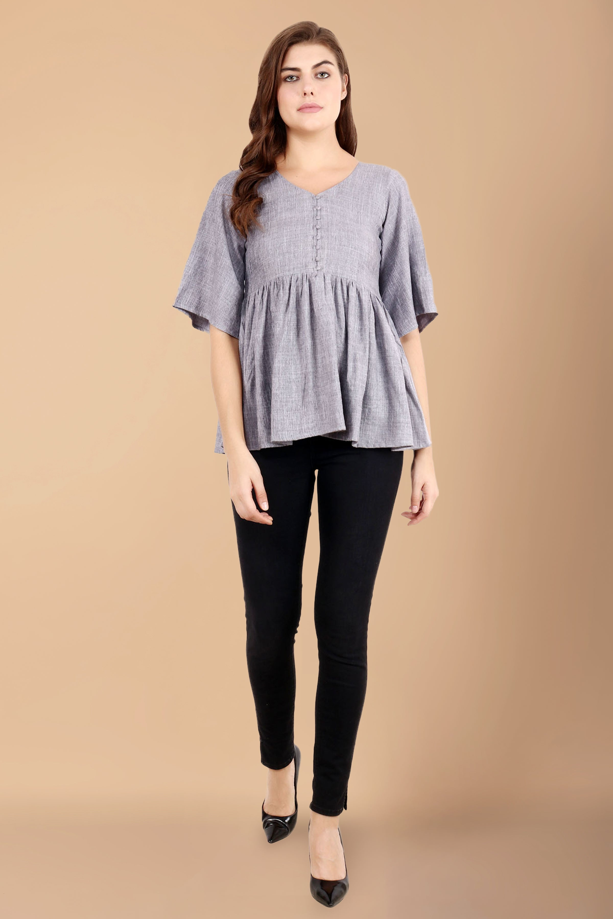 all size, best online store, blue, breathable, casual, comfortable, frill, linen, loose, maternity, nursing, plus size, pluz size, pregnancy, rayon, reasonable price, ruffle, skin friendly fa
