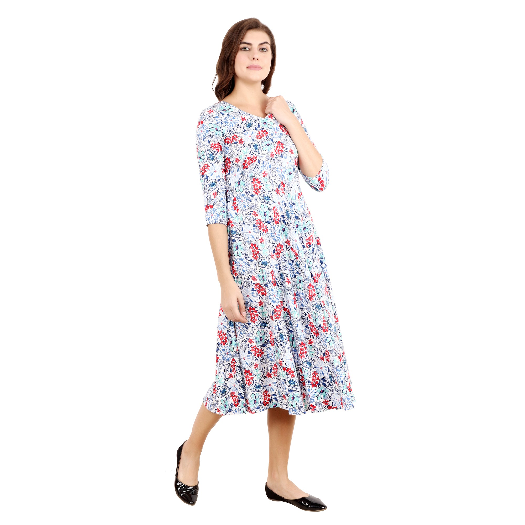 Blue Botanic Rayon Nursing & Maternity Plus Size Dress - Apella