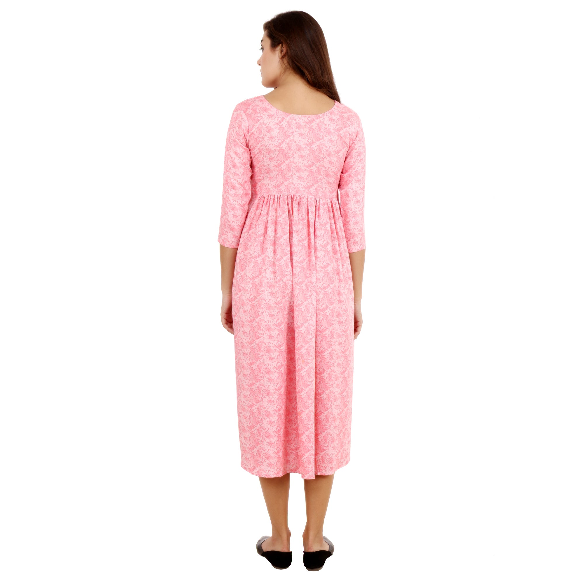 all size, best online store, breathable, calf length, comfortable, DRESS, flare, floral, knee length, maternity, pink, plus size, pregnancy, print, printed, rayon, reasonable price, skin frie