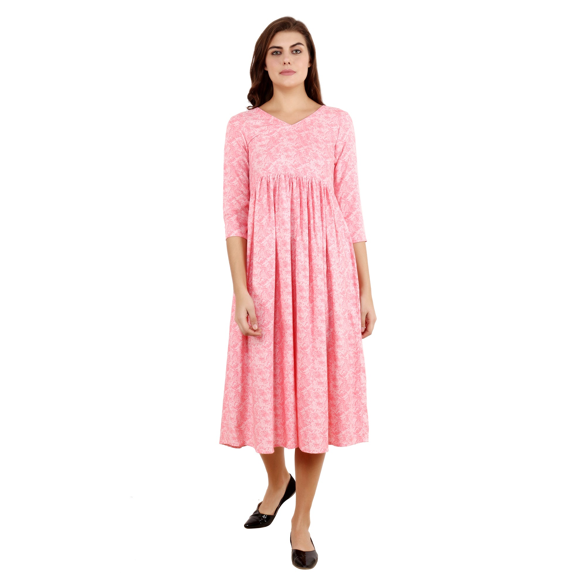 all size, best online store, breathable, calf length, comfortable, flare, floral, knee length, maternity, pink, plus size, pregnancy, print, printed, rayon, reasonable price, skin friendly fa
