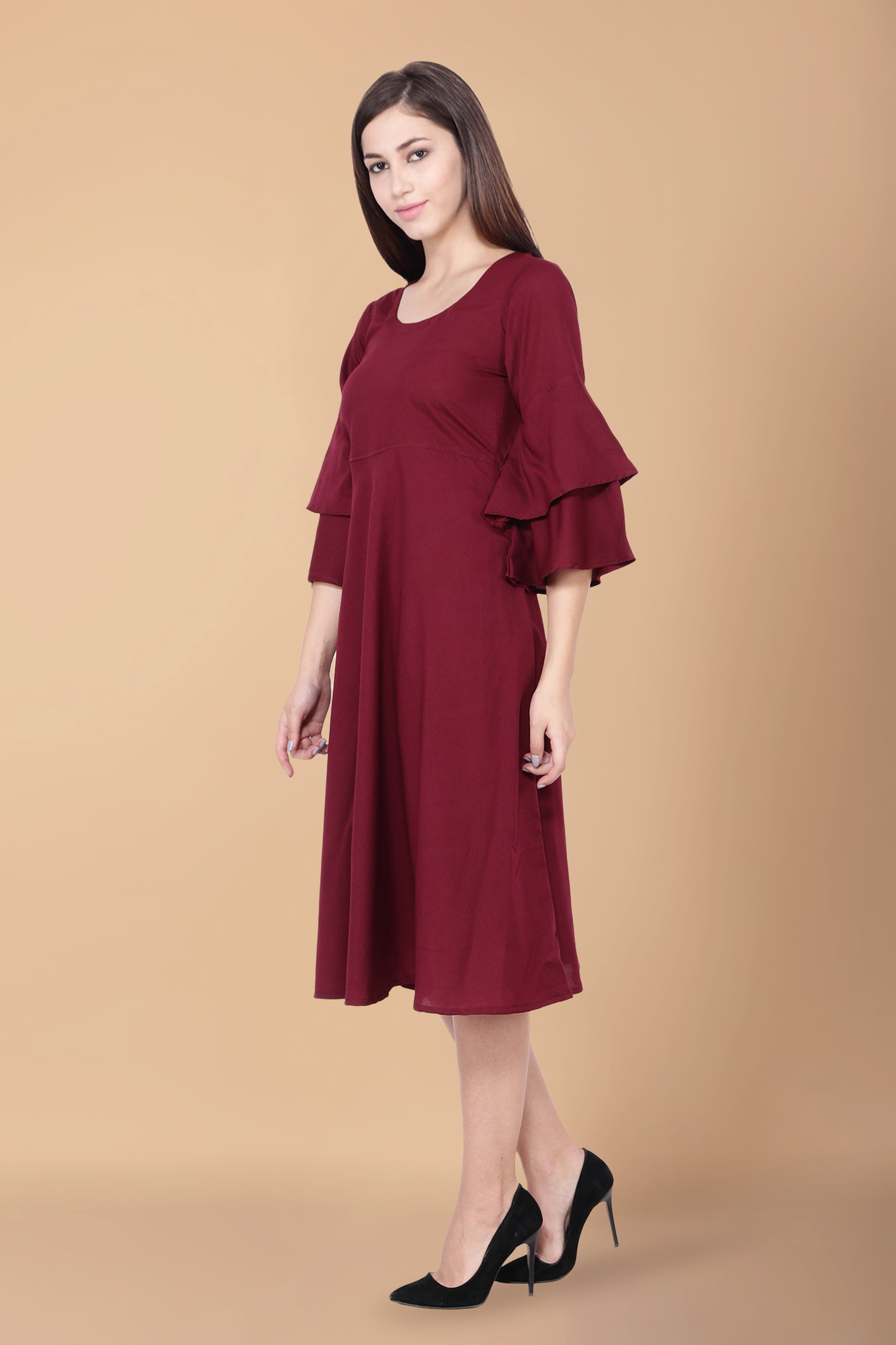Solid Maroon A-line Dress - Apella