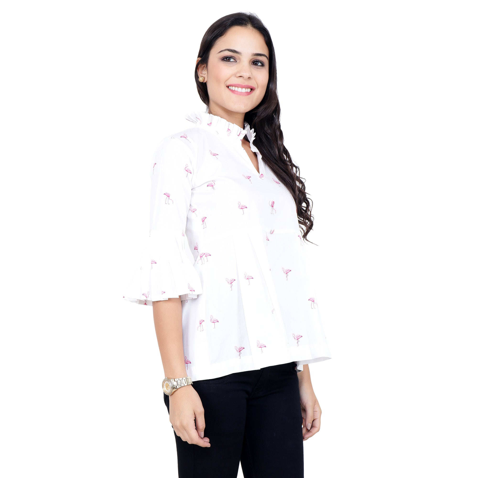 10XL, 2XL, 3XL, 4XL, 5XL, 6XL, 7XL, 8XL, 9XL, COTTON, flamingo print, FRILLED, mandarin neck, PLUS SIZE TOP, TOP, WHITE